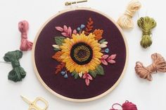 Stitch this sunflower embroidery by Maggie Schnücker to bring the warm colours of sunshine into your home all year round. #craft
