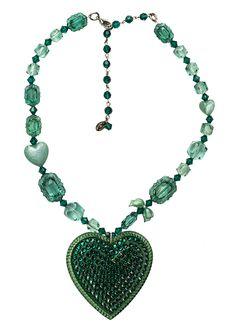 Tarina Tarantino Crystal Heart Necklace in emerald!!!