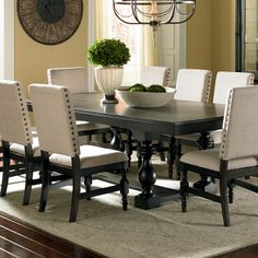 Black Dining Room Table Chair Unique Leona Cottage Rectangular Antique Black Dining Table with Dining Room Design, Dining Chairs, French Country Dining, Black Dining Room, Country Dining Rooms, Tall Dining Room Table, Dining Room Furniture, Rectangular Dining Table, French Country Dining Room