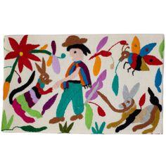 """""""Tableau la mula y el conejo"""" Otomi by ViBamos. Tissu écru brodé à la main avec fils multicolore tendu et cloué sur châssis de tableau. Un tableau haut en couleur, idéal pour décorer une chambre de garçon qui aime les contes sur les animaux.  Largeur :32 cm Hauteur :20 cm"""