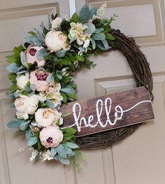 Front Door Wreaths, Spring Wreath, Hello Sign, #housewares #homedecor @EtsyMktgTool #wreaths #peonies #rustic #new #etsywreaths #bestselling Diy Spring Wreath, Spring Front Door Wreaths, Diy Wreath, Grapevine Wreath, Wreath Ideas, Tulle Wreath, Wreath Making, Etsy Wreaths, Hello Sign