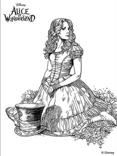 Tim Burton's Alice in Wonderland coloring page.