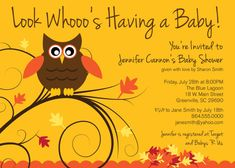 printable baby shower invitations.  Owl with autumn/fall theme!  Mustard yellow and rust orange.