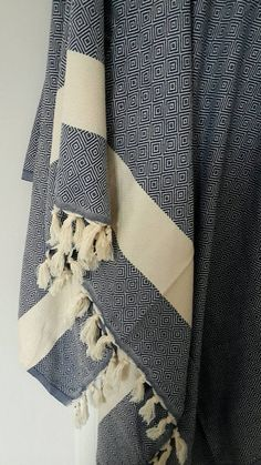 Blue Cotton Blanket  - Picnic and Family Beach blanket throw - Large Bed cover- Sofa throw - Fashion Coverlet - King size bedding