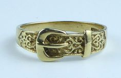 9ct Gold Buckle Ring  Size N and a half by New2uCollectables