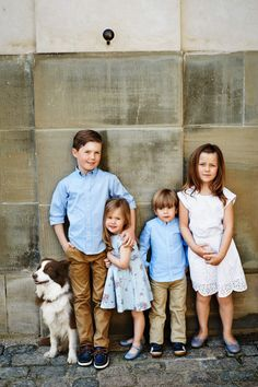 Crown Prince Frederik and Mary's children with the family dog Ziggy: Prince Christian, Princess Josephine, Prince Vincent and Princess Isabella