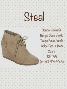 Cheaper version of the TOMS wedge bootie :)
