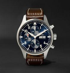 PERMANENT COLLECTION IWC SCHAFFHAUSEN Pilot's Le Petit Prince Edition 43mm Stainless Steel And Leather Chronograph Watch