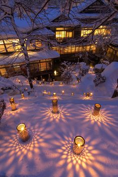 Candele light at Mutaitaki Inn, Aizu, Fukushima. Beautiful World, Beautiful Places, Beautiful Pictures, Landscape Lighting, Outdoor Lighting, Bamboo Light, Bamboo Crafts, Theme Noel, Winter Scenery