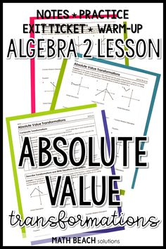 Are your students ready to step up to learning how to transform absolute value functions using composite transformations? This complete lesson includes a warm-up, exit ticket, practice, and notes! Algebra 2 Worksheets, Algebra Lessons, Transformations Math, Absolute Value, Lesson Plans, Ticket, Teaching, How To Plan, Keys