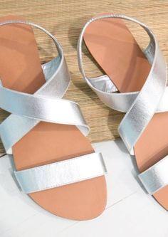 metallic flat halter back sandal silver