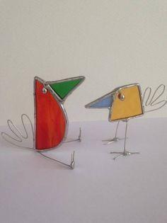 Par de vidrieras Suncatcher de aves banda loca