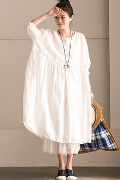 White Linen Summer Pleated Dresses Oversize Women Clothing Q292BG