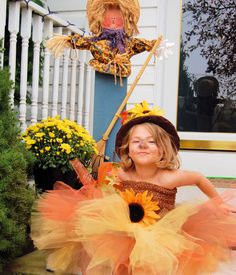 Scarecrow Halloween Costume Tutu with hat Scarecrow by SewsnBows