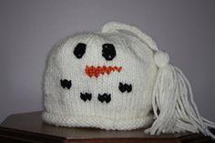 Kids Knit Snowman Hat on Etsy.