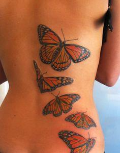 Five Butterflies Back Tattoo
