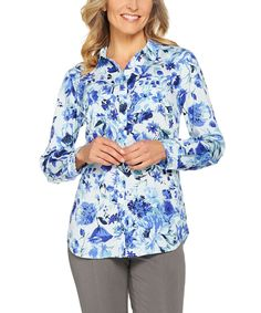 Blue Floral Woven Button-Up Tunic - Plus Too