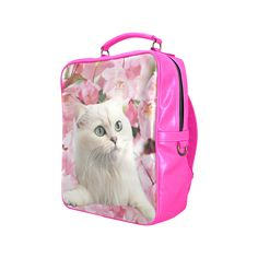 Cat and Flowers Square Backpack. FREE Shipping. #artsadd #lbackpacks #cats