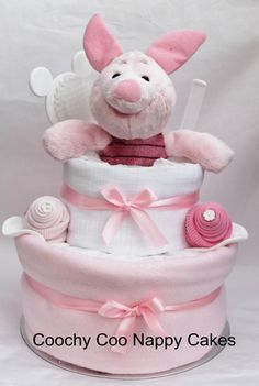 Our Piglet Nappy Cake, Is An Ideal Baby Gift Or Baby Shower Present. This  Handmade Nappy Cake Is Made With Tender Care And Comes Wrapped In  Cellephane ...