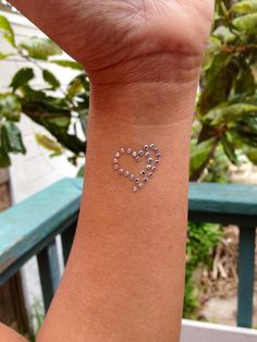 Swarovski crystal heart tattoo