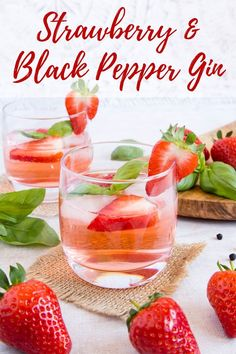 Enjoy summer in a glass with this strawberry gin with a hint of black pepper. easy to make and ready within a few days. This strawberry gin is delicious over ice, or in a cocktail. So easy to make and ideal for gifting. #gin #strawberries #cocktails #summerdrinks via @fussfreeflavour