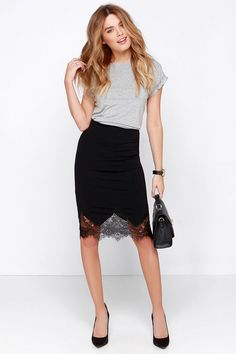 Chic to Me Black Lace Midi Skirt