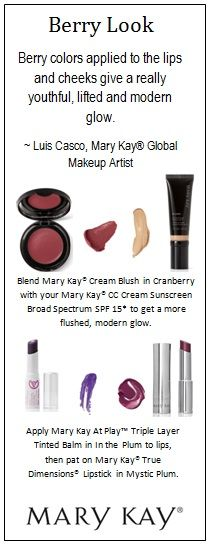 "#BeautyTip: Try combining  Mary Kay® CC Cream Sunscreen Broad Spectrum SPF 15* with a deep shade of Mary Kay® Cream Blush in ""Cranberry"" for a natural glow. See you on the runway!"
