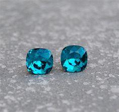 Dark Teal Earrings Teal Wedding Peacock Blue Wedding Super Sparklers Square Vintage Swarovski Crystal Earrings Mashugana
