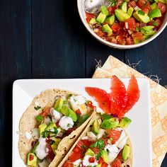 Fish Tacos with Grapefruit and Avocado Salsa Recipe Main Dishes with grapefruit, avocado, purple onion, lime juice, chopped cilantro, jalapeno chilies, red bell pepper, salt, pepper, cooking spray, halibut, corn tortillas, fat free greek yogurt