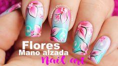 Decoración de uñas flores mano alzada - One stroke flowers nails