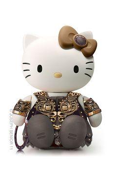 Hello Kitty versión Xena: la princesa guerrera.