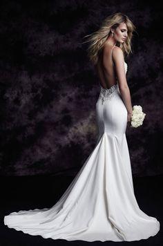 @palomablancawed Style 4618: Guipure Lace and Paloma Satin Wedding Dress. www.palomablanca.com #PalomaBlanca #weddingdress #weddinggown #wedding #dress