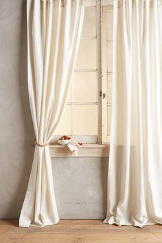 Slide View: 1: Linen Tie-Top Curtain