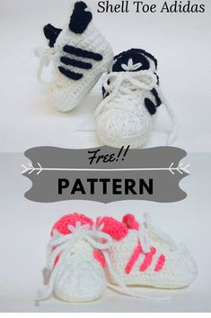 If you are going to make crochet baby booties you might as well make the coolest newborn shoes! This free crochet Adidas pattern is great for boys or girls. There are very little crochet Adidas English patterns available. Crochet Baby Sandals, Crochet Shoes, Crochet Baby Booties, Crochet Slippers, Knitted Baby, Crochet Dolls, Baby Booties Free Pattern, Baby Shoes Pattern, Baby Patterns