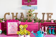 Wooden letter name sign from an American Girl Doll WellieWishers Garden Birthday Party on Kara's Party Ideas | KarasPartyIdeas.com (6)