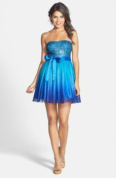 Sequin ombre strapless fit & flare - super cute!!! @nordstrom