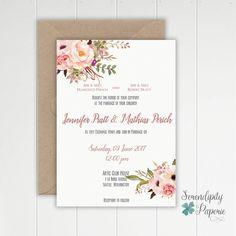 Invitación de boda Floral rústico para imprimir