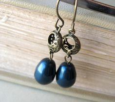 Blue Wedding Earrings  pearl antique brass by littlewhitechapel, $20.00