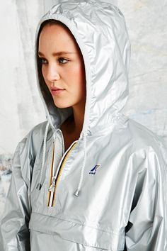 K-Way Leon Classic Cagoule in Silver - Urban Outfitters
