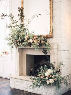 Wedding mantle install inspired by the colors of Utah #stilllifeparkcity by Tinge Floral and team of students