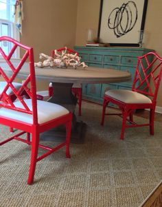 red bamboo chair two