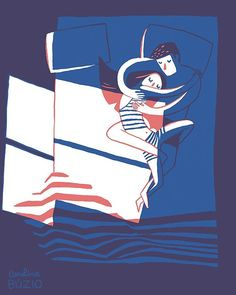 "The artwork on the wall (on the previous picture I posted) is this one, ""Couple in Bed""... still a favourite! It was one of the first where I felt I had figured out something like a ""style"", something that excited me and felt personal. ⠀ #coupleillustration #illustratorsofinstagram #picame"