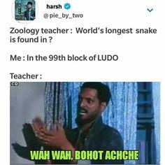 Punishment me girls row me baitha de 🙈 Very Funny Memes, Funny School Memes, Funny True Quotes, Some Funny Jokes, Jokes Quotes, Funny Facts, Funny Relatable Memes, Hilarious Memes, Funny Movie Memes