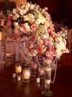 Beach Vintage Gold Ivory Pink Centerpiece Centerpieces Indoor Reception Wedding Photos Pictures
