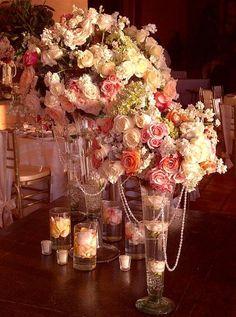 Beach Vintage Gold Ivory Pink Centerpiece Centerpieces Indoor Reception Wedding Reception Photos & Pictures - WeddingWire.com