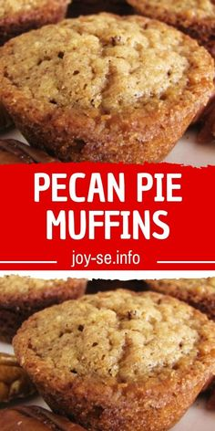 PECAN PIE MUFFINS I love pie. I love all kinds of pie. I will never turn down a slice of homemade pie. But if I had to choose my absolute favorite pie, it would be Pecan Pie. It is the mother of all pies. Of course, if you ask my hubby, the Apple Pie is … Pecan Pie Muffins, Bakery Muffins, Carrot Muffins, Breakfast Muffins, Breakfast Recipes, Dessert Recipes, Breakfast Pastries, Breakfast Ideas, Muffin Recipes
