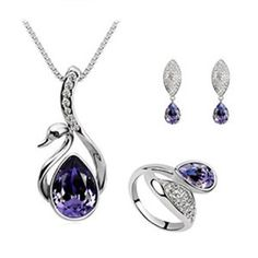 LYEP femelle bijoux exquis sautoir Bijoux trois ensembles (Deep Purple)
