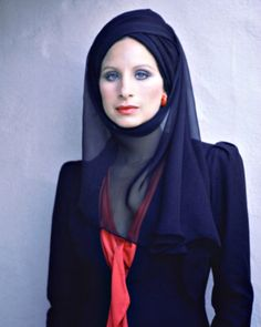 Barbra Streisand wearing a black veil