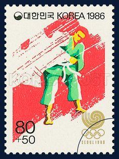 POSTAGE STAMPS OF SEOUL OLIMLICS 1988, Judo, Sports, Crimson, Green, 1986 11 01, 88 서울올림픽, 1986년 11월 1일, 1460, 유도, postage 우표