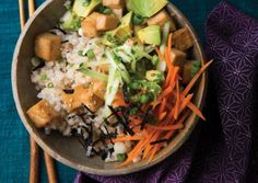 Warm Sushi Rice Bowls with Tofu Teriyaki --- Crisp teriyaki-flavored tofu bites are perched atop nori-flecked sushi rice for an invigorating meal in a bowl. It's a lively combo of cooked and raw ingredients. Veggie Recipes, Asian Recipes, Vegetarian Recipes, Cooking Recipes, Healthy Recipes, Ethnic Recipes, Asian Foods, Entree Recipes, Vegetarian Cooking